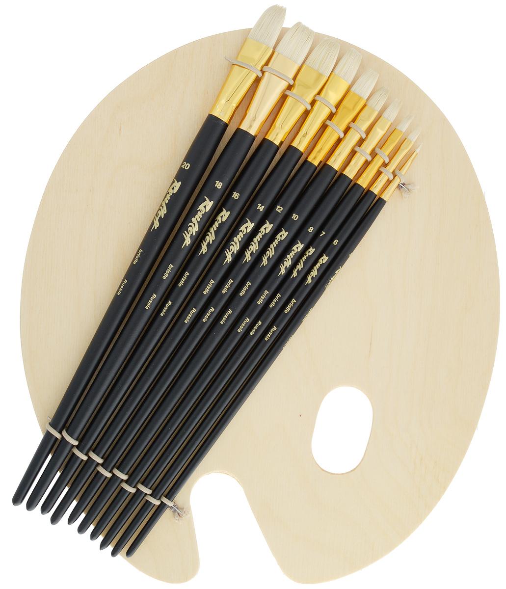Набор кистей Rubloff №42, с палитрой, 10 штНабор № 42Набор Rubloff №42 состоит из десяти плоских кистей №4, 6, 7, 8, 10, 12, 14, 16, 18, 20 и овальной деревянной палитры. Такой набор идеально подойдет для художественных и декоративно-оформительских работ. Кисти изготовлены из щетины. Деревянные длинные ручки оснащены алюминиевыми втулками с двойной обжимкой. Длина кистей: №4 - 29,7 см; №6 - 30,8 см; №7 - 31,2 см; №8 - 31,3 см; №10 - 31,5 см; №12 - 31,8 см; №14 - 32,5 см; №16 - 32,2 см; №18 - 32,2 см; №20 - 33 см. Длина пучка: №4 - 7 мм; №6 - 1 см; №7 - 1,2 см; №8 - 1,4 см; №10 - 1,5 см; №12 - 1,7 см; №14 - 1,9 см; №16 - 2 см; №18 - 2,2 см; №20 - 2,6 см. Размер палитры: 33 х 28,5 х 0,2 см.