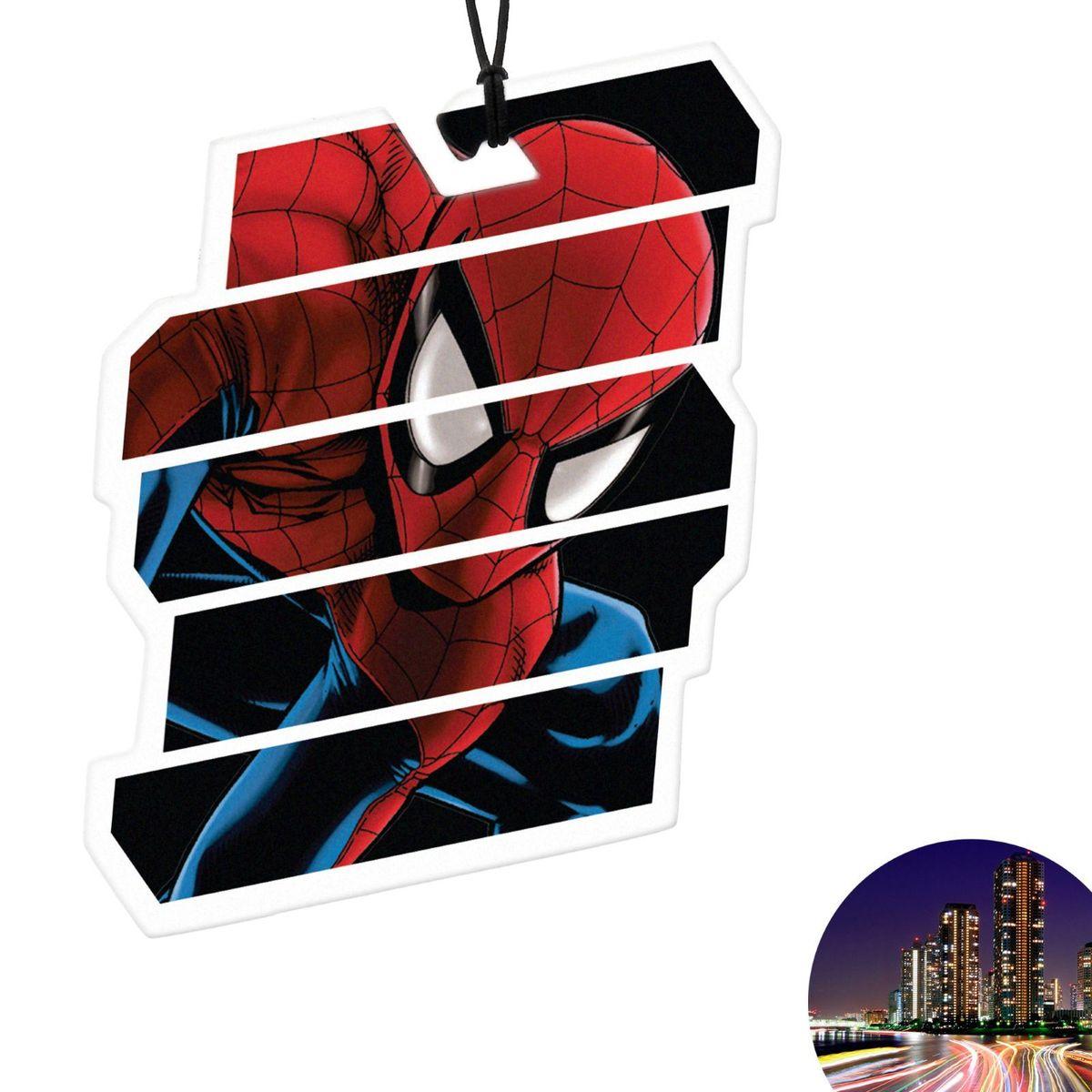 Ароматизатор автомобильный Marvel Spiderman 1. Ночной мегаполис, 8,9 х 15,9 см1149010Яркость в серые городские будни и скучную езду по пробкам добавит ароматизатор Marvel Spiderman 1. Ночной мегаполис. В нем сочетаются эксклюзивный дизайн и приятный аромат. Если у вас нет автомобиля - не беда! Повесьте ароматизатор дома или на работе и наслаждайтесь чудесным благоуханием.