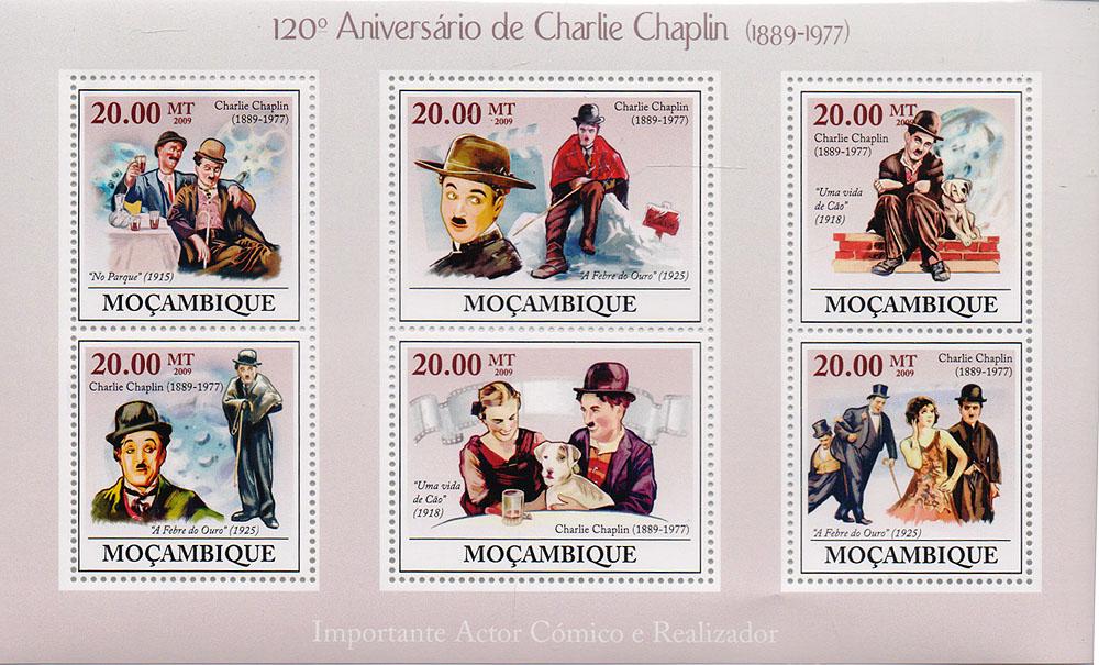 Малый лист 120 лет со дня рождения Чарли Чаплина. Мозамбик. 2009 год791504Малый лист 120 лет со дня рождения Чарли Чаплина. Мозамбик. 2009 год. Размер блока: 17.6 х 10.3 см. Размер марок: 5 х 4 см, 3.7 х 4 см. Сохранность хорошая.