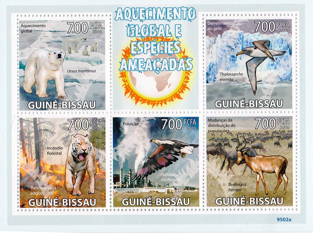 Малый лист Глобальное потепление и исчезающие виды. Гвинея-Бисау, 2009 год791504Малый лист Глобальное потепление и исчезающие виды. Гвинея-Бисау, 2009 год. Размер блока: 13 х 9.5 см. Размер марок: 3.7 х 4 см. Сохранность хорошая.
