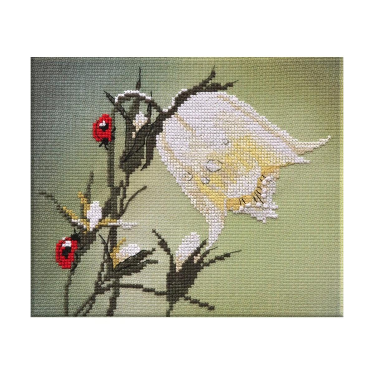 Набор для вышивания крестом Овен Белый колокольчик, 17 х 16 см набор для вышивания крестом овен щенки бигль 28 х 37 см