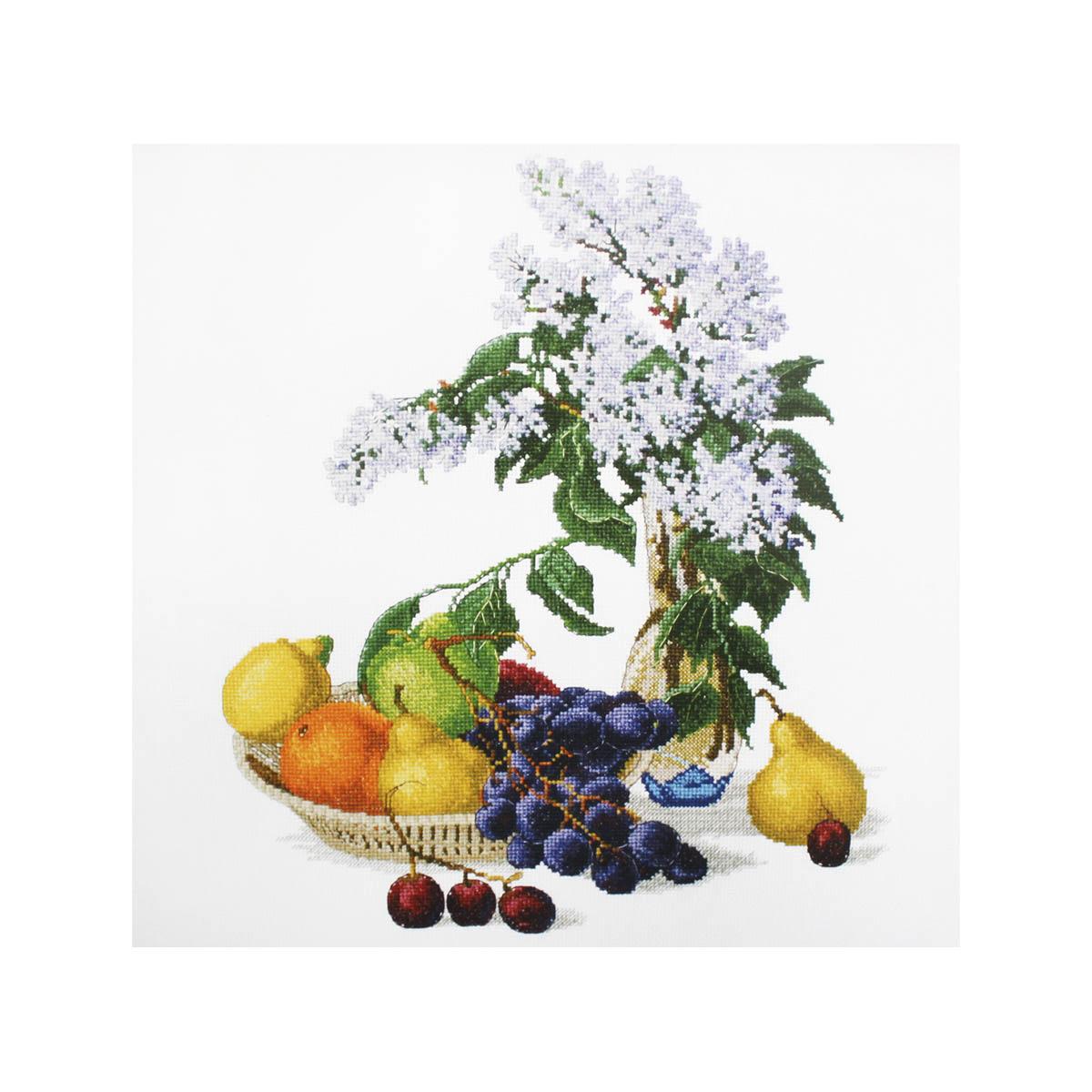 Набор для вышивания крестом Овен Сирень и фрукты, 32 х 37 см набор для вышивания крестом овен щенки бигль 28 х 37 см