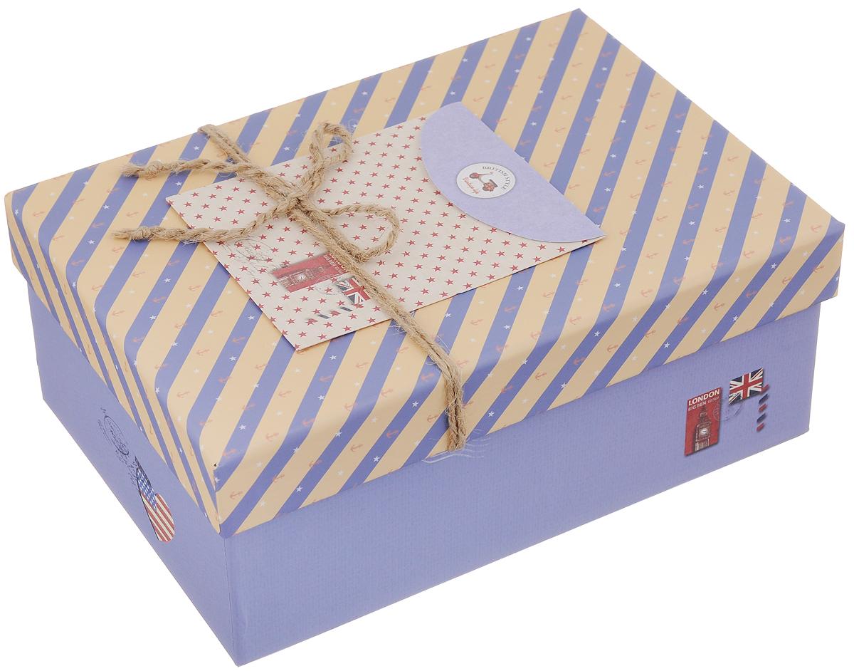 Коробка подарочная Packing Symphony Английский стиль, цвет: синий, бежевый, 20 х 14 х 8,5 см80036901Картонная коробка Packing Symphony Английский стиль - это один из самых оригинальных вариантов упаковки подарков. Любой, даже самый нестандартный подарок упакованный в такую коробку, создаст момент легкой интриги, а плотный картон сохранит содержимое в первоначальном виде. Оригинальный дизайн самой коробки будет долго напоминать владельцу о трогательных моментах получения подарка.