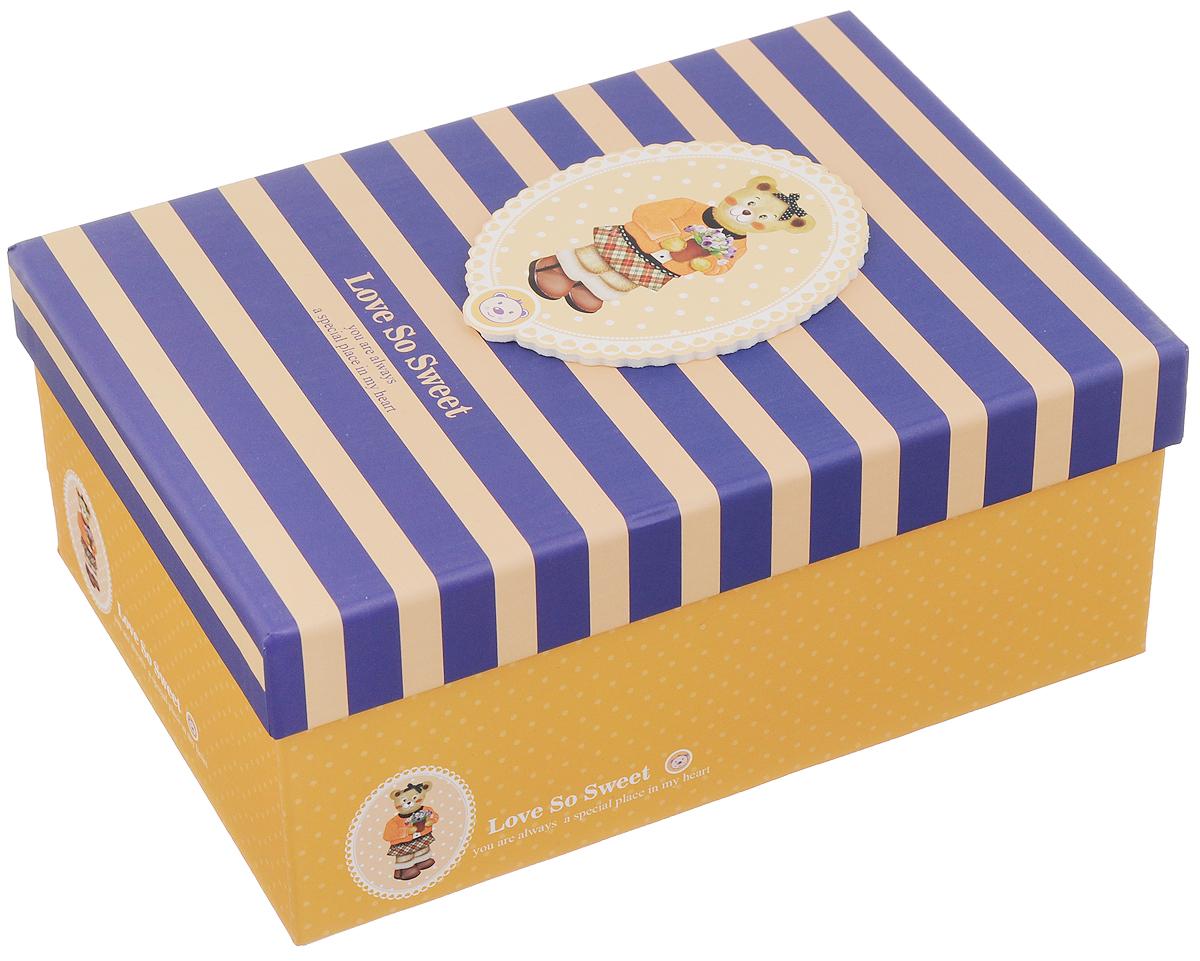 Коробка подарочная Packing Symphony Сладкая любовь, цвет: желтый, синий, 22,5 х 16 х 9,5 см80036911Картонная коробка Packing Symphony Сладкая любовь - это один из самых оригинальных вариантов упаковки подарков. Любой, даже самый нестандартный подарок упакованный в такую коробку, создаст момент легкой интриги, а плотный картон сохранит содержимое в первоначальном виде. Оригинальный дизайн самой коробки будет долго напоминать владельцу о трогательных моментах получения подарка.