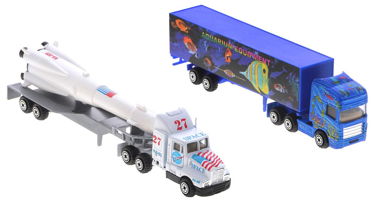 Pro-Engine Набор машинок Tractor Trailer цвет синий белый 2 штPT301_белый, синийНабор машинок Pro-Engine Tractor Trailer понравится любому мальчику. В набор входят два мощных трейлера, один из которых перевозит истребитель. Игрушки изготовлены из качественных и безопасных материалов с высокой степенью детализации. С таким набором малыш сможет устраивать различные соревнования и придумывать захватывающие сюжеты для игр.