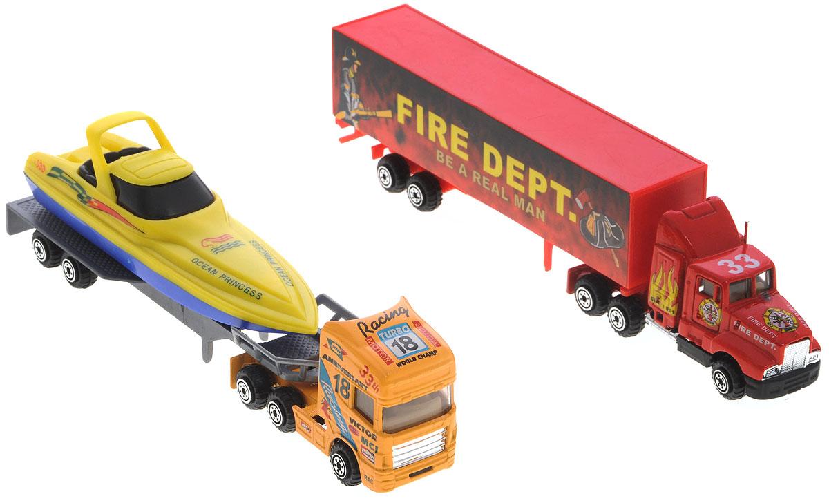 Pro-Engine Набор машинок Tractor Trailer цвет красный оранжевый 2 штPT301_оранжевый,красныйНабор машинок Pro-Engine Tractor Trailer понравится любому мальчику. В набор входят два мощных трейлера, один из которых перевозит катер. Игрушки изготовлены из качественных и безопасных материалов с высокой степенью детализации. С таким набором малыш сможет устраивать различные соревнования и придумывать захватывающие сюжеты для игр.