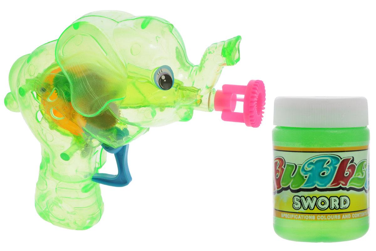 Веселая затея Набор для пускания мыльных пузырей Слоник цвет зеленый1504-0278_зеленыйВыдувание мыльных пузырей - это веселое развлечение для детей и взрослых. А с игрушкой Веселая затея Слоник вас ждет просто гигантская очередь мыльных пузырей! Для этого налейте мыльный раствор в крышку, опустите в нее носик игрушки, поднимите в воздух и нажмите на курок. Вы увидите невероятное количество пузырей. Пистолет со светящимся диском, который раскручивается внутри благодаря нажатию на курок. Устройте малышу настоящее мыльное шоу! В комплекте для выдувания мыльных пузырей: пластиковый пистолет, пузырек с мыльным раствором и батарейки.
