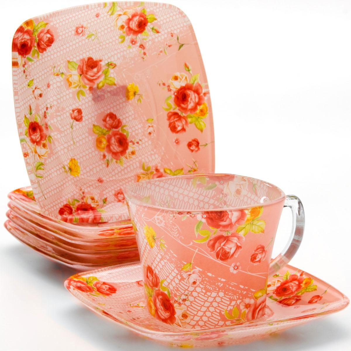 Набор чайный Loraine, 12 предметов. 2412824128Чайный набор, выполненный из высококачественного прочного стекла, состоит из шести чашек и шести блюдец. Изделия декорированы изящным изображением цветов. Элегантный дизайн и совершенные формы предметов набора привлекут к себе внимание и украсят интерьер вашей кухни. Набор идеально подойдет для сервировки стола и станет отличным подарком к любому празднику. Подходит как для горячих, так и для холодных напитков. Объем чашки: 200 мл.