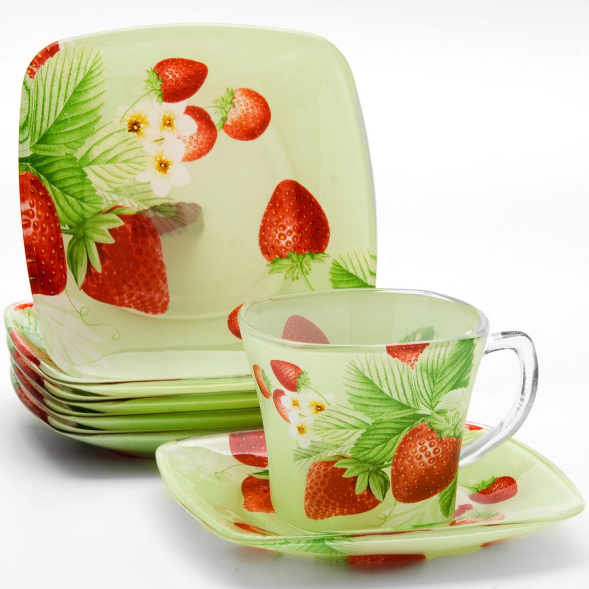 Набор чайный Loraine, 12 предметов. 2412924129Чайный набор, выполненный из высококачественного прочного стекла, состоит из шести чашек и шести блюдец. Изделия декорированы изящным изображением лесных ягод. Элегантный дизайн и необычные формы предметов набора привлекут к себе внимание и украсят интерьер вашей кухни. Набор идеально подойдет для сервировки стола и станет отличным подарком к любому празднику. Подходит как для горячих, так и для холодных напитков. Объем чашки: 200 мл.