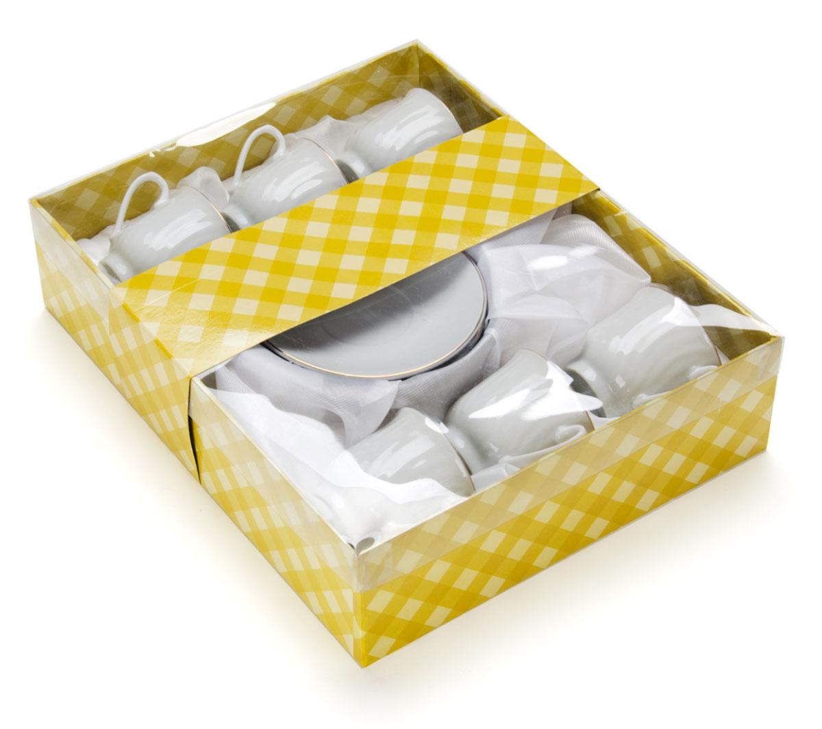 Набор кофейный Loraine, 12 предметов. 2561125611Набор имеет красивый нежный дизайн. Состоит из 12 предметов: чашка-6 шт (90 мл) и блюдце-6 шт. Набор изготовлен из качественной керамики. Керамика безопасна для здоровья и надолго сохраняет тепло напитка. Изысканно белый цвет с золотым декором придает набору элегантный вид. Набор аккуратно сложен в подарочную упаковку. Размеры: чашка - D6х5,5см, блюдце - D10,5см. Станет прекрасным украшением сервировки стола, а процесс чаепития превратится в одно удовольствие! Прекрасный выбор для подарка родным и друзьям.