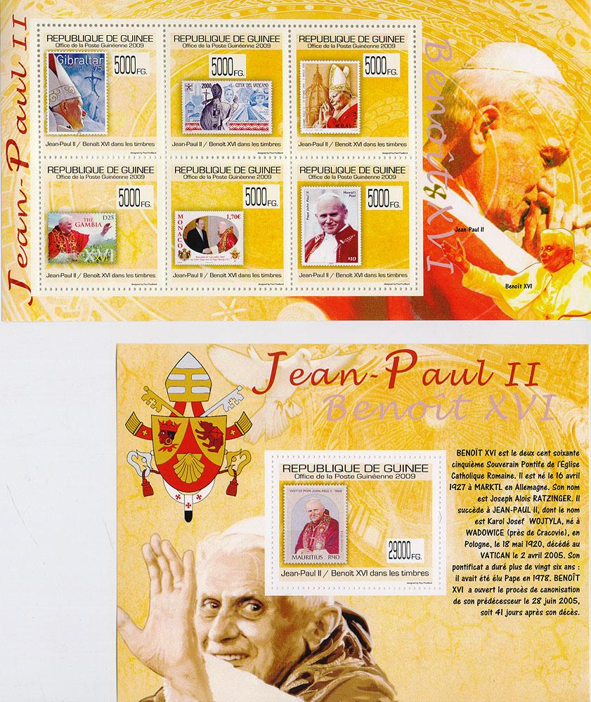 Комплект из малого листа и почтового блока Иоанн-Павел II / Бенедикт XVI. Гвинея, 2009 год791504Комплект из малого листа и почтового блока Иоанн-Павел II / Бенедикт XVI. Гвинея, 2009 год. Размер малого листа: 9.7 х 17.5 см. Размер марок: 3.5 х 3.5 см. Размер почтового блока: 10.7 х 14 см. Размер марки: 3.5 х 4.5 см. Сохранность хорошая.
