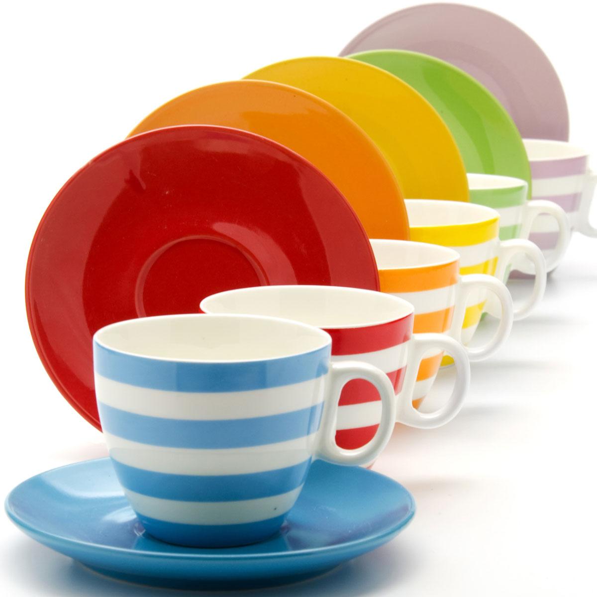 Набор кружек Loraine, 220 мл, 6 шт. 2424124241Материал: Керамика Объем: 220 мл х 6 Цвет: фиолетовый, синий, зеленый, красный, желтый, оранжевый с белыми полосами Количество: 12 предметов( 6 чашек + 6 блюдец) Размер коробки: 32,2 х 24,4 х 8,5 см Вес: 2.58 кг Этот набор состоит из 6 чашек + 6 блюдец. Чашки изготовлены из высококачественной керамики. Изящный дизайн придется по вкусу и ценителям классики, и тем, кто предпочитает утонченность и изысканность. Он настроит на позитивный лад и подарит хорошее настроение с самого утра. Набор кружек LORAINE - идеальный и необходимый подарок для вашего дома и для ваших друзей в праздники.
