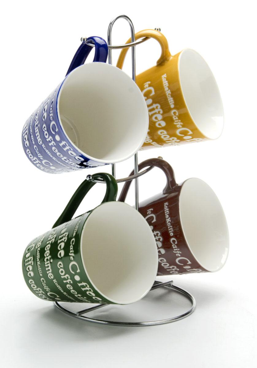 Набор кружек Loraine, на подставке, 340 мл, 5 предметов. 2466124661Этот набор состоит из 4 кружек. Кружки изготовлены из керамики из разных цветов. Изящный дизайн придется по вкусу и ценителям классики, и тем, кто предпочитает утонченность и изысканность. Он настроит на позитивный лад и подарит хорошее настроение с самого утра. В комплекте - металлическая подставка с шестью крючками для подвешивания кружек. Набор кружек - идеальный и необходимый подарок для вашего дома и для ваших друзей в праздники, юбилеи и торжества.