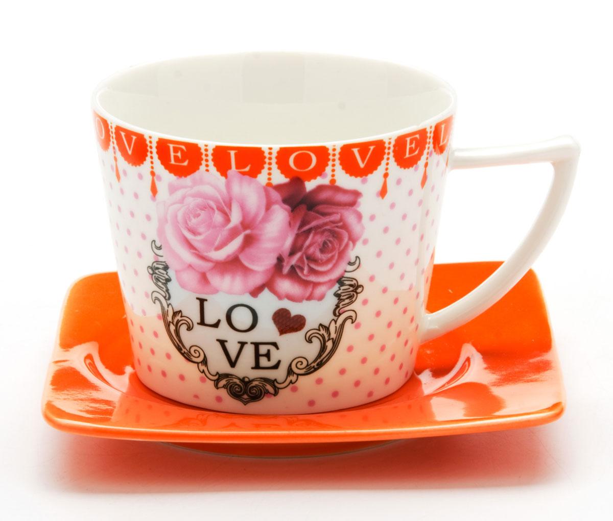 Чайная пара Loraine I LOVE YOU, 230 мл, 2 предмета. 2471024710Этот чайный набор, выполненный из керамики, состоит из одной чашки и блюдца. Предметы набора оформлены ярким изображением I LOVE YOU. Изящный дизайн и красочность оформления придутся по вкусу и ценителям классики, и тем, кто предпочитает утонченность и изысканность. Чайный набор - идеальный и необходимый подарок для вашего дома и для ваших друзей в праздники, юбилеи и торжества! Он также станет отличным корпоративным подарком и украшением любой кухни. Чайный набор упакован в подарочную коробку из плотного цветного картона. Внутренняя часть коробки задрапирована белым атласом.
