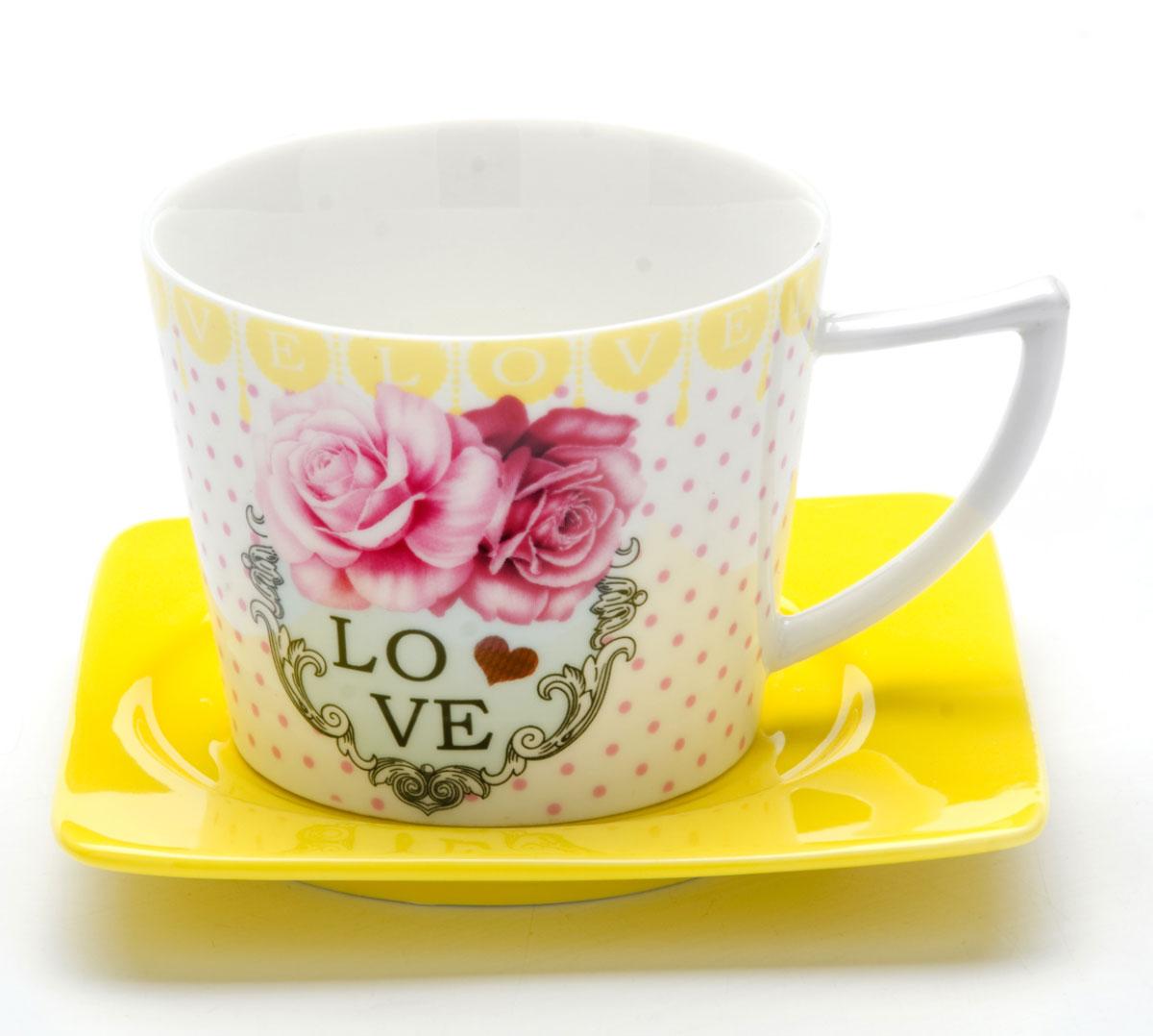 Чайная пара Loraine I LOVE YOU, 230 мл, 2 предмета. 2471124711Этот чайный набор, выполненный из керамики, состоит из одной чашки и блюдца. Предметы набора оформлены ярким изображением I LOVE YOU. Изящный дизайн и красочность оформления придутся по вкусу и ценителям классики, и тем, кто предпочитает утонченность и изысканность. Чайный набор - идеальный и необходимый подарок для вашего дома и для ваших друзей в праздники, юбилеи и торжества! Он также станет отличным корпоративным подарком и украшением любой кухни. Чайный набор упакован в подарочную коробку из плотного цветного картона. Внутренняя часть коробки задрапирована белым атласом.