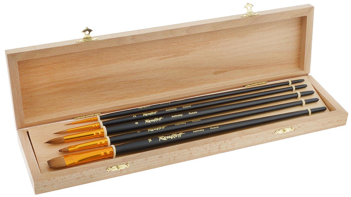 Набор кистей Rubloff №4, в футляре, 5 штНабор № 4Кисти из набора Rubloff №4 идеально подойдут для художественных и декоративно-оформительских работ. В набор входят круглые кисти №1, 3, 6 и плоские - №7, 14. Щетина изготовлена из волоса колонка. Деревянные длинные ручки оснащены анодированными алюминиевыми втулками с двойной обжимкой. В комплект входит буковый футляр. Длина кистей: №1 - 29 см; №3 - 30,5 см; №6 - 32 см; №7 - 30,7 см; №14 - 32 см. Длина пучка: №1 - 8 мм; №3 - 1,5 см; №6 - 2,1 см; №7 - 1 см; №14 - 1,6 см. Размер футляра: 36 х 9,2 х 3,5 см.