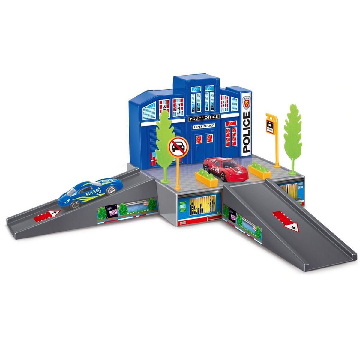 Dave Toy Игровой набор Полицейский участок32017Игровой набор Dave Toy Полицейский участок - это будет отличное приобретение для вашего малыша. Все детали игрового набора выполнены из качественного безопасного для детей материала. На небольшой платформе располагается полицейский участок синего цвета с окошками, в которых горит свет. Рядом располагаются зеленые деревья, клумбы с цветами и дорожные знаки. В нижней части прорисована дежурная часть, в которой видны силуэты людей. Подъем и спуск с платформы выполнен в виде мостика серого цвета, направление движения отмечено стрелочками. В комплекте с полицейским участком идет 1 металлическая машинка зеленого цвета и лист с наклейками для украшения станции. Сам участок выполнен в приятных красных. Играя в этот игровой набор, ваш ребенок сможет весело проводить свое время как один, так и в компании сверстников.