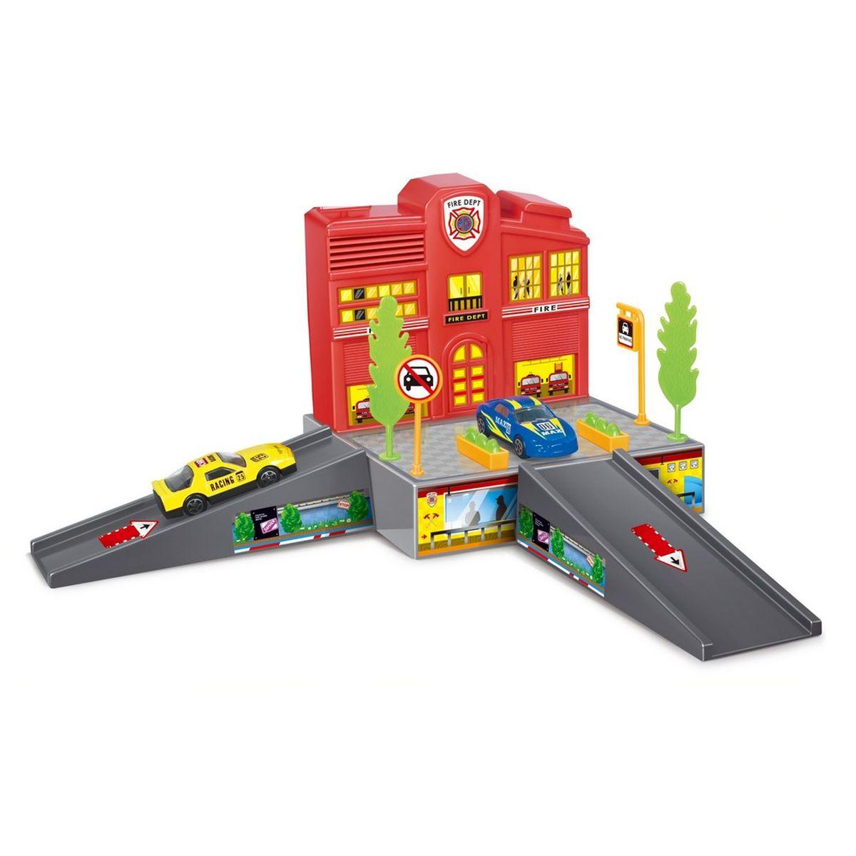Dave Toy Игровой набор Пожарная станция32018Игровой набор Dave Toy Пожарная станция - это будет отличное приобретение для вашего малыша. Все детали игрового набора выполнены из качественного безопасного для детей материала. На небольшой платформе располагается пожарная станция красного цвета с окошками, в которых горит свет. Там располагаются зеленые деревья, клумбы с цветами и дорожные знаки. В нижней части прорисована мастерская для пожарных машин, в которой видны силуэты людей. Подъем и спуск с платформы выполнен в виде мостика серого цвета, направление движения отмечено стрелочками. В комплекте со станцией идет 1 металлическая машинка синего цвета и лист с наклейками для украшения станции. Сама станция выполнена в приятных красных. Играя в этот игровой набор, ваш ребенок сможет весело проводить свое время как один, так и в компании сверстников.