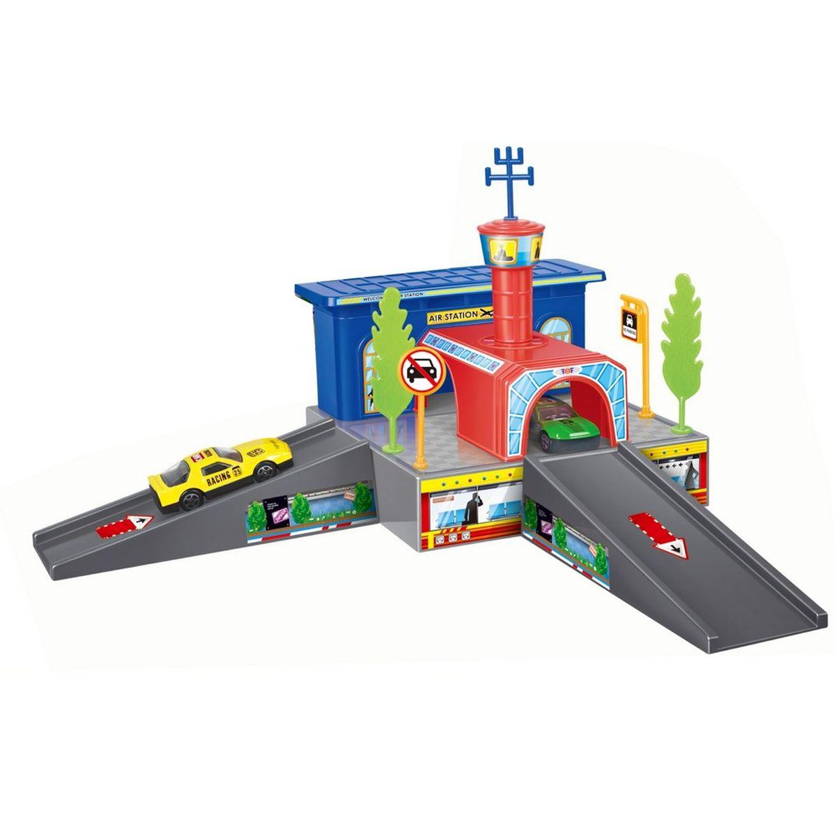Dave Toy Игровой набор Аэропорт32019Игровой набор Dave Toy Аэропорт - это будет отличное приобретение для вашего малыша. Все детали игрового набора выполнены из качественного безопасного для детей материала.На первом уровне аэропорта прорисован зал ожидания с пассажирами. Въезд и выезд серого цвета в виде небольших мостиков, на которых стрелками обозначено направление движения. Если подняться к синему зданию аэропорта, то можно попасть в арку красного цвета, на крыше которой расположена вышка для наблюдений. Когда машинке нужно выехать, это можно сделать из той же арки. Вокруг расположены дорожные знаки и зеленые деревья. br>В комплекте с набором идет 1 металлическая машинка и лист с наклейками для украшения станции. Сам аэропорт выполнен в приятных красных. Играя в этот игровой набор, ваш ребенок сможет весело проводить свое время как один, так и в компании сверстников.