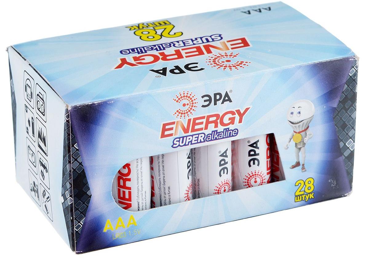 Батарейка алкалиновая ЭРА Energy, тип AAA (LR03), 1,5В, 28 шт5055398651230Щелочные (алкалиновые) батарейки ЭРА Energy оптимально подходят для повседневного питания множества современных бытовых приборов: электронных игрушек, фонарей, беспроводной компьютерной периферии и многого другого. Не содержат кадмия и ртути. Батарейки созданы для устройств со средним и высоким потреблением энергии. Работают в 10 раз дольше, чем обычные солевые элементы питания. Размер батарейки: 1 см х 4,1 см.