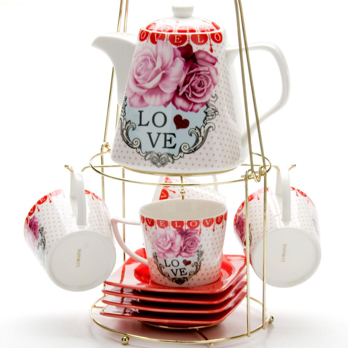 Набор чайный Mayer & Boch, на подставке, 9 предметов. 2472824728Чайный набор LORAINE состоит из 4 чашек, 4 блюдец и заварочного чайника (1,1 л). Предметы набора изготовлены из керамики и оформлены изображением цветов. Все предметы располагаются на удобной металлической подставке с ручкой. Элегантный дизайн набора придется по вкусу и ценителям классики, и тем, кто предпочитает утонченность и изысканность. Он настроит на позитивный лад и подарит хорошее настроение с самого утра. Чайный набор LORAINE идеально подойдет для сервировки стола и станет отличным подарком к любому празднику.