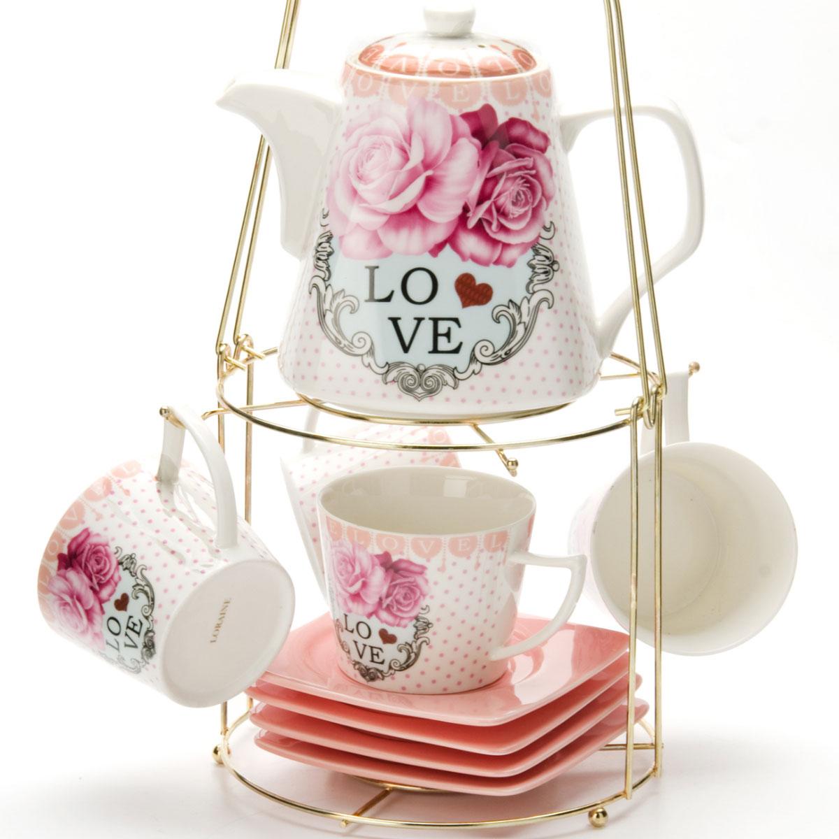 Набор чайный Mayer & Boch, на подставке, 9 предметов. 2472924729Чайный набор LORAINE состоит из 4 чашек, 4 блюдец и заварочного чайника (1,1 л). Предметы набора изготовлены из керамики и оформлены изображением цветов. Все предметы располагаются на удобной металлической подставке с ручкой. Элегантный дизайн набора придется по вкусу и ценителям классики, и тем, кто предпочитает утонченность и изысканность. Он настроит на позитивный лад и подарит хорошее настроение с самого утра. Чайный набор LORAINE идеально подойдет для сервировки стола и станет отличным подарком к любому празднику.