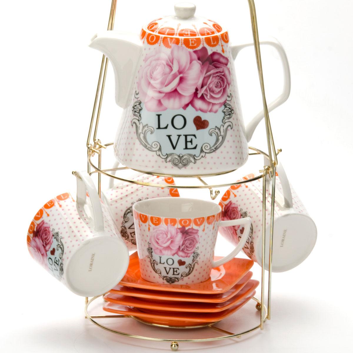 Набор чайный Mayer & Boch, на подставке, 9 предметов. 2473024730Чайный набор LORAINE состоит из 4 чашек, 4 блюдец и заварочного чайника (1,1 л). Предметы набора изготовлены из керамики и оформлены изображением цветов. Все предметы располагаются на удобной металлической подставке с ручкой. Элегантный дизайн набора придется по вкусу и ценителям классики, и тем, кто предпочитает утонченность и изысканность. Он настроит на позитивный лад и подарит хорошее настроение с самого утра. Чайный набор LORAINE идеально подойдет для сервировки стола и станет отличным подарком к любому празднику.
