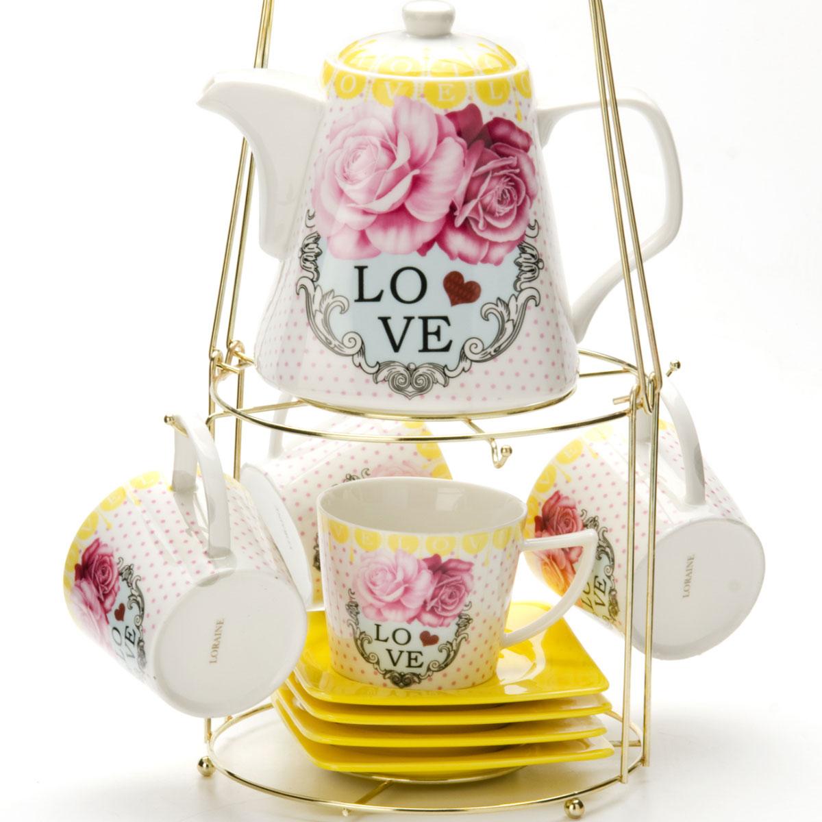 Набор чайный Mayer & Boch, на подставке, 9 предметов. 2473124731Чайный набор LORAINE состоит из 4 чашек, 4 блюдец и заварочного чайника (1,1 л). Предметы набора изготовлены из керамики и оформлены изображением цветов. Все предметы располагаются на удобной металлической подставке с ручкой. Элегантный дизайн набора придется по вкусу и ценителям классики, и тем, кто предпочитает утонченность и изысканность. Он настроит на позитивный лад и подарит хорошее настроение с самого утра. Чайный набор LORAINE идеально подойдет для сервировки стола и станет отличным подарком к любому празднику.