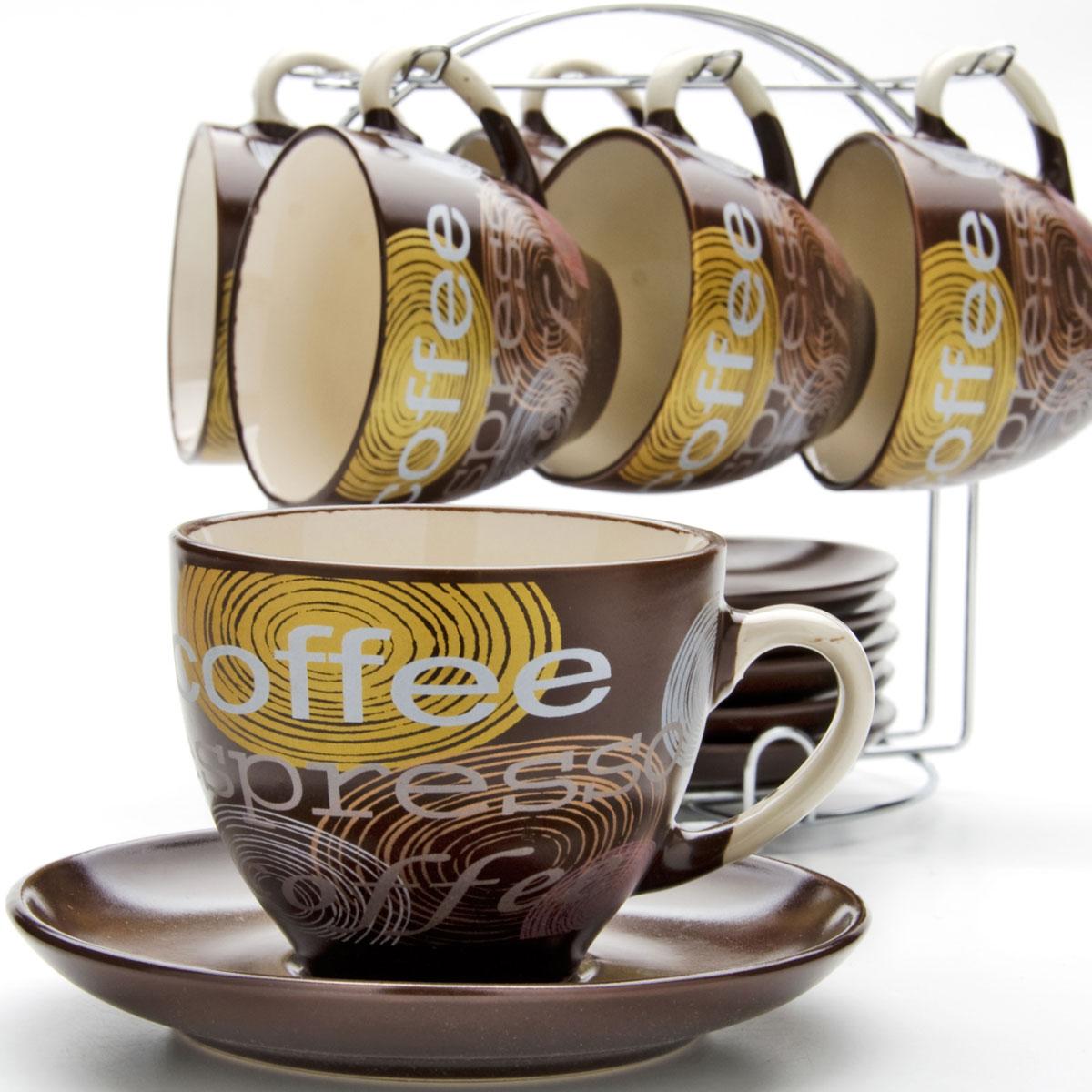 Набор чайный Mayer & Boch, на подставке, 13 предметов. 2353823538Подходит для горячих и холодных напитков. 6 кружек, 6 блюдец, металлическая подставка. Теплостойкие ручки.Элегантный дизайн. Керамика высокого качества. Можно использовать в микроволновой печи. Мыть в посудомоечной машине.