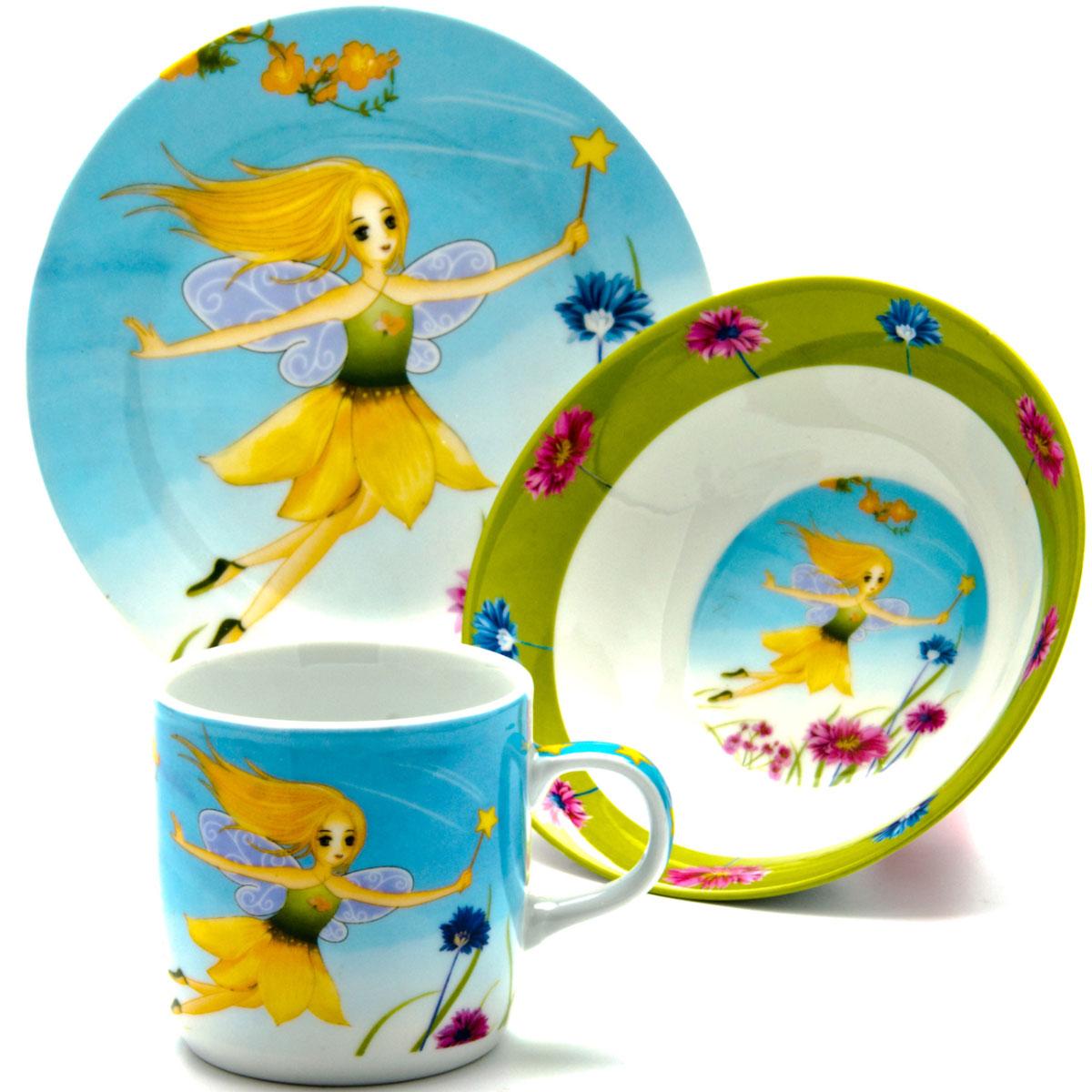 Набор посуды Loraine Фея, 3 предмета24026Набор посуды Фея сочетает в себе изысканный дизайн с максимальной функциональностью. В набор входят суповая тарелка, обеденная тарелка и кружка. Предметы набора выполнены из высококачественной керамики, декорированы красочным рисунком. Благодаря такому набору обед вашего ребенка будет еще вкуснее. Набор упакован в красочную, подарочную упаковку.