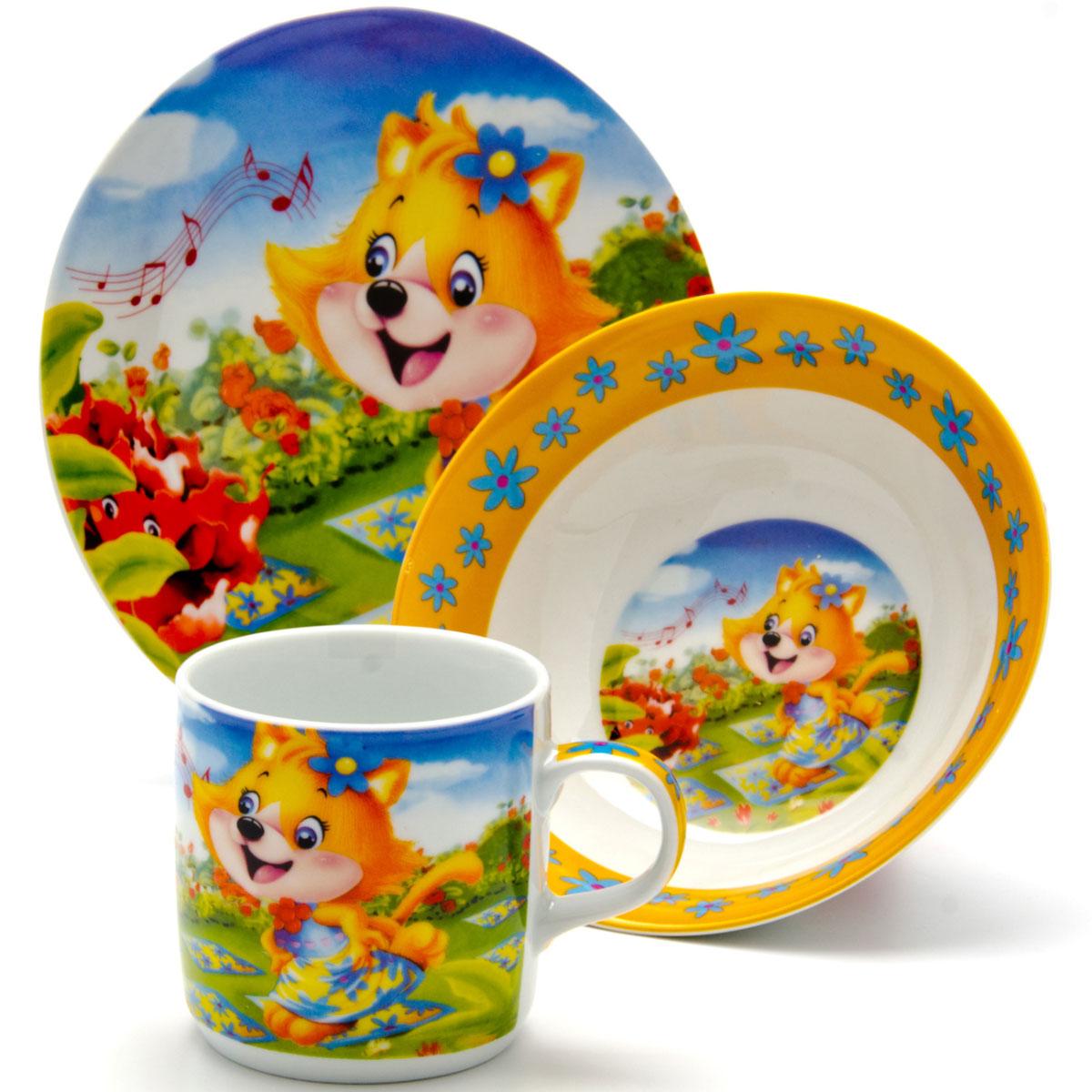 Набор посуды Loraine Белка, 3 предмета24028Набор посуды Лиса сочетает в себе изысканный дизайн с максимальной функциональностью. В набор входят суповая тарелка, обеденная тарелка и кружка. Предметы набора выполнены из высококачественной керамики, декорированы красочным рисунком. Благодаря такому набору обед вашего ребенка будет еще вкуснее. Набор упакован в красочную, подарочную упаковку.