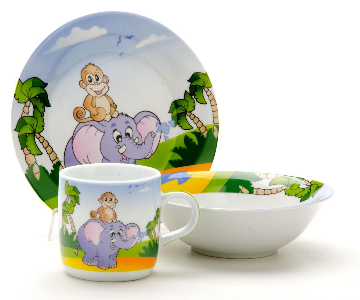 Набор посуды Loraine Слоник, 3 предмета25600Набор посуды Фея сочетает в себе изысканный дизайн с максимальной функциональностью. В набор входят суповая тарелка, обеденная тарелка и кружка. Предметы набора выполнены из высококачественной керамики, декорированы красочным рисунком. Благодаря такому набору обед вашего ребенка будет еще вкуснее. Набор упакован в красочную, подарочную упаковку.