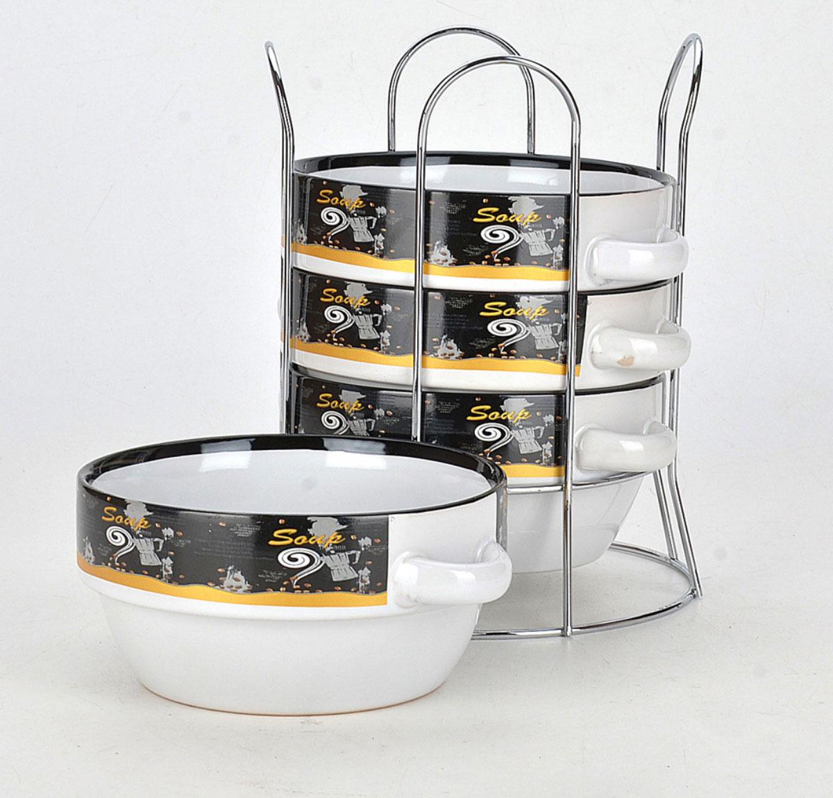 Набор супниц Loraine, на подставке, 575 мл, 4 предмета. 2128421284Для хозяек, предпочитающих современный и яркий дизайн, эти супницы будут отличным кухонным сервизом. Чашки белого цвета с ярким узором сделаны из биокерамики. Сервиз подчеркнет Ваш стиль и индивидуальность. Набор очень удобны в использовании, благодаря подставке он очень компактно расположится на вашей кухне.