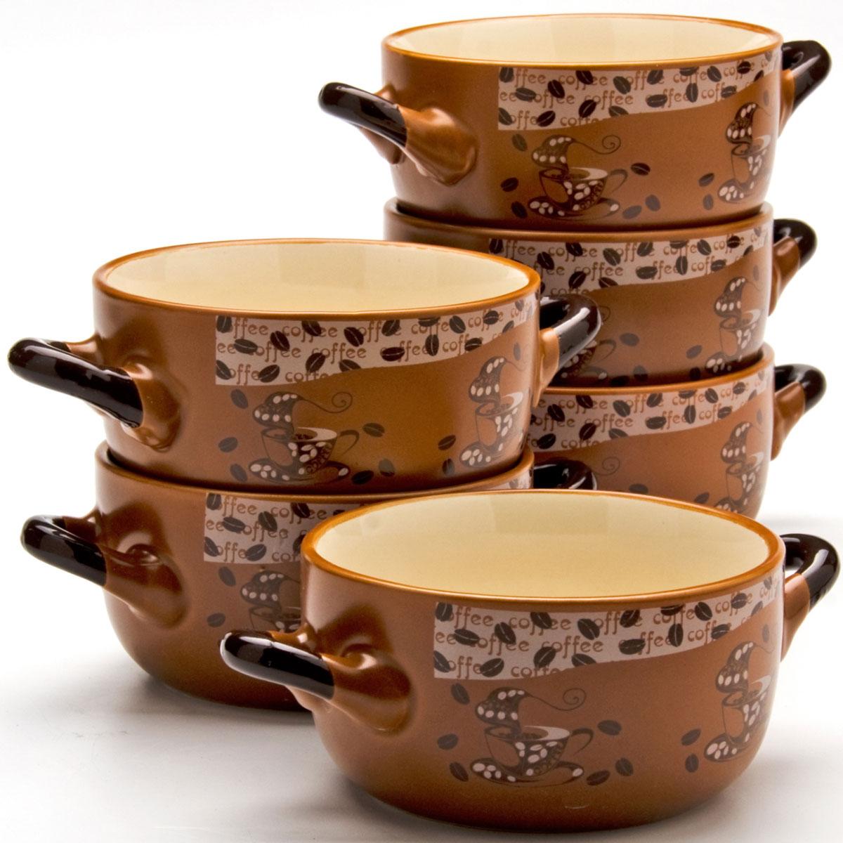 Набор супниц Loraine, 380 мл, 6 предметов. 2354623546Каждая хозяйка знает – красивое должно быть и удобным, ведь в первую очередь на кухне важна функциональность. Набор состоит из 6-х керамических супниц. Керамика обладает термической и химической прочностью, поэтому супницы прослужат Вам по-настоящему долго. Набор супниц шоколадного цвета приятно задекорирован светлыми,нежными тонами, создаст на кухне атмосферу уюта. Благодаря своей форме, супницы и подставку легко мыть как вручную, так и в посудомоечной машинке, а компактный размер набора позволит удобно хранить его на любой кухне.