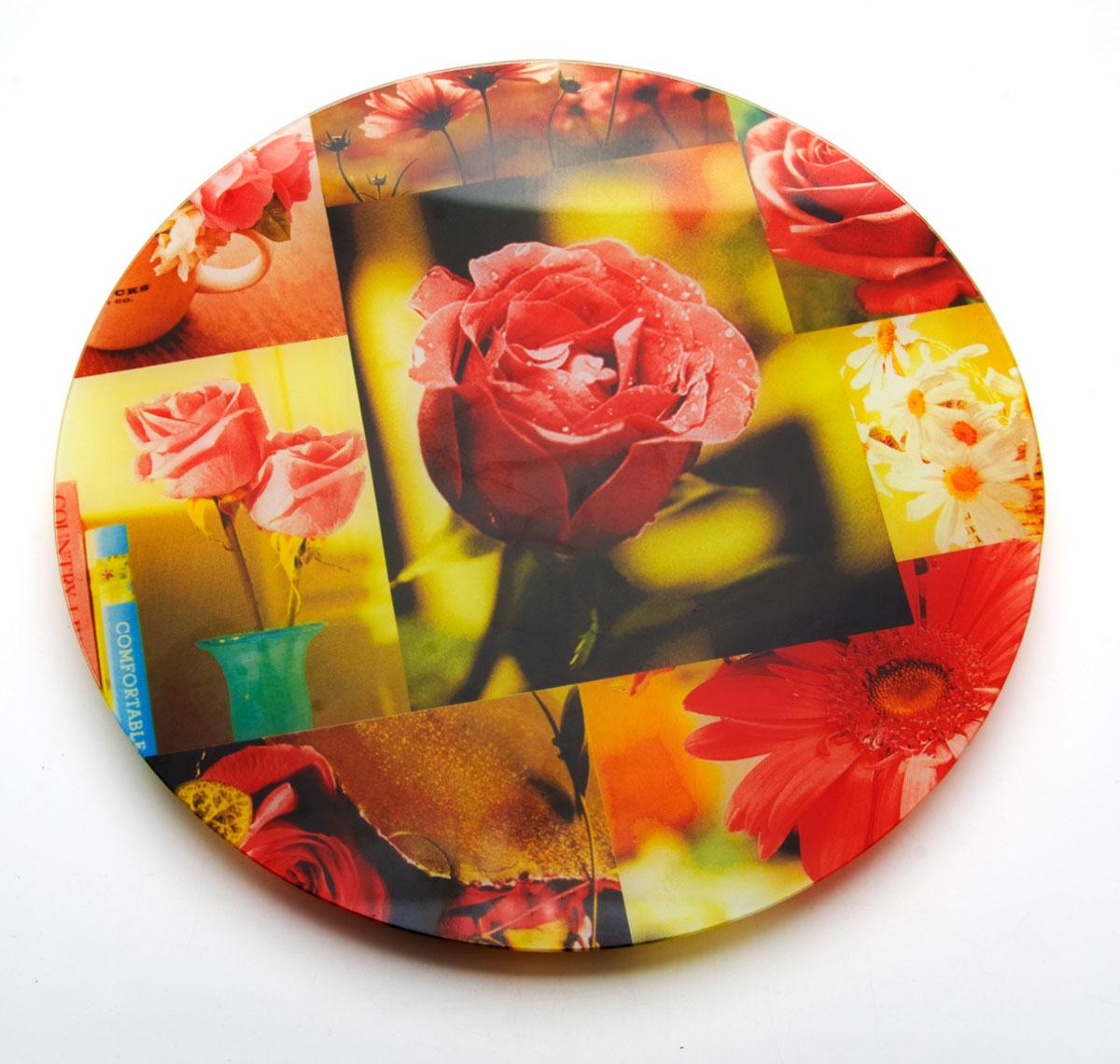 Тортовница вращающаяся Loraine, 35 см23923Тортовница Loraine изготовлена из стекла и оформлена изображением ярких роз. Тортовница снабжена вращающейся системой и удобной устойчивой ножкой. Вы можете использовать эту посуду для красивой подачи торта, пирога, фруктов. Тортовница Loraine украсит любой стол и идеально подойдет для праздничной сервировки.