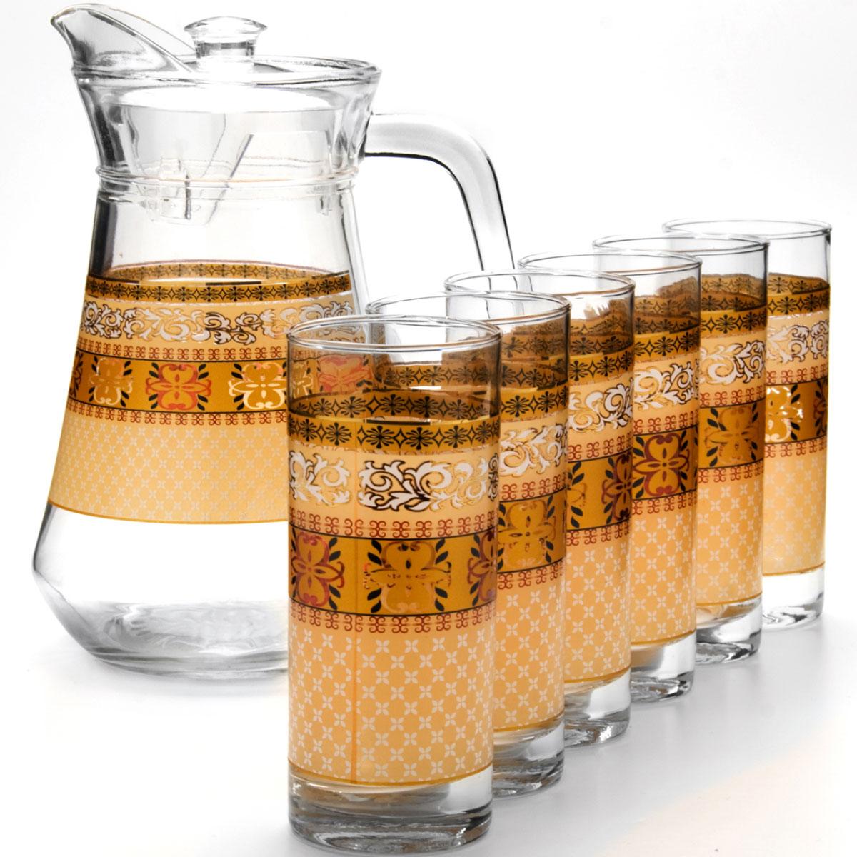 Набор питьевой Loraine, 7 предметов. 2406624066Подходит для горячих и холодных напитков. В набор входит один кувшини 6 стаканов. Кувшин с крышкой и ручкой.