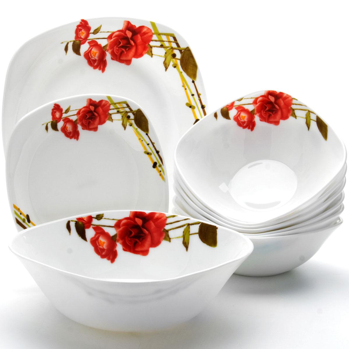 Сервиз столовый Mayer & Boch, 19 предметов. 2410024100Сервиз столовый Mayer & Boch состоит из 6 обеденных тарелок, 6 десертных тарелок, 6 суповых тарелок и 1 салатника. Предметы набора изготовлены из стекла с гладким качественным покрытием и украшены изысканным изображением красных роз. Набор создаст отличное настроение во время обеда, будет уместен на любой кухне и понравится каждой хозяйке. Красочное оформление предметов набора придает ему оригинальность и торжественность. Практичный и современный дизайн делает набор довольно простым и удобным в эксплуатации. Предметы набора можно мыть в посудомоечной машине, использовать в микроволновой печи и холодильнике. Размер суповой тарелки: 17,8 х 17,8 см. Объем суповой тарелки: 650 мл. Размер обеденной тарелки: 26,7 х 26,7 см. Размер десертной тарелки: 19 х 19 см. Размер салатника: 22,9 х 22,9 см. Высота стенок салатника: 7,5 см. Объем салатника: 1,4 л.