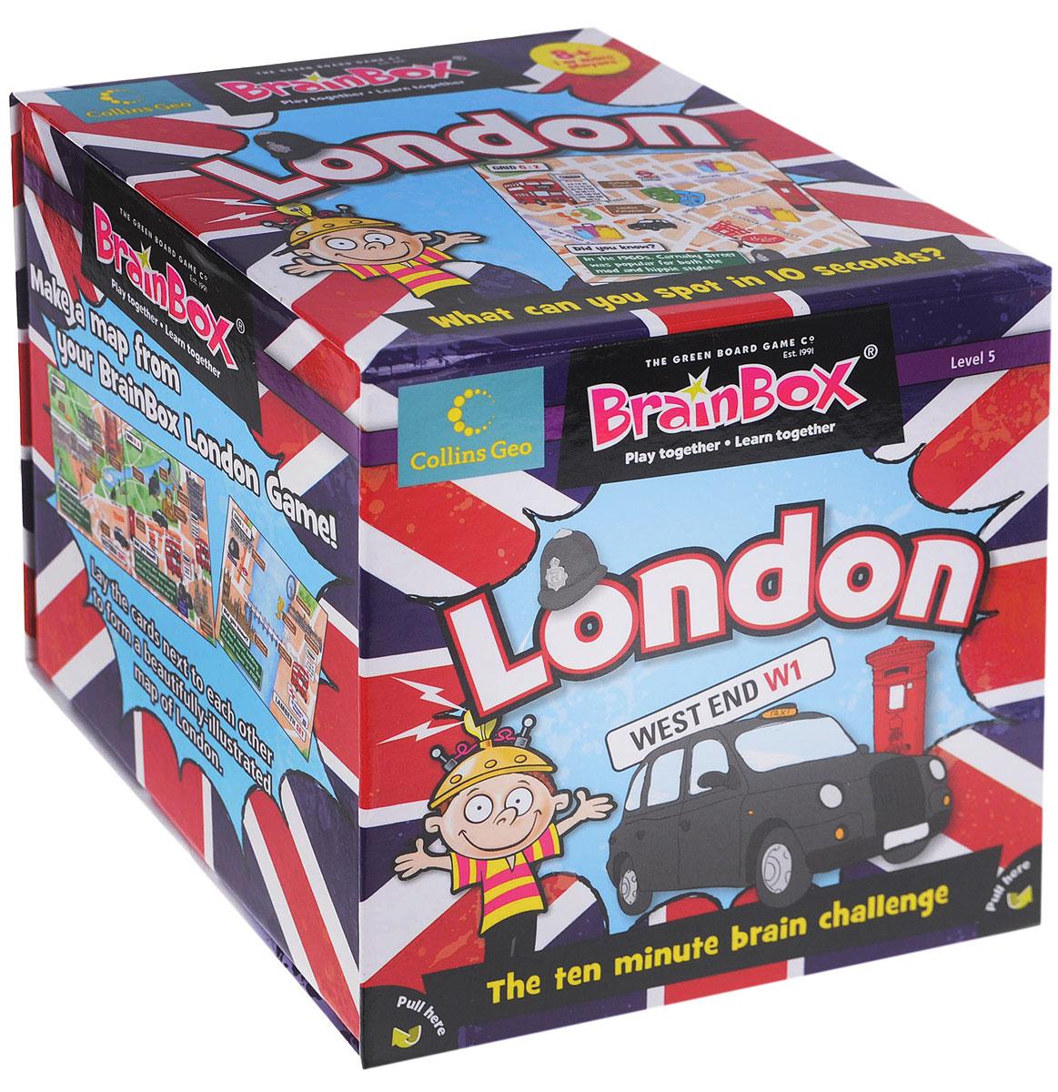 BrainBox Настольная игра Сундучок знаний London90016Добро пожаловать в Лондон! Настольная игра BrainBox Сундучок Знаний. London - англоязычная игра на развитие зрительной памяти, речи и концентрации внимания. Цель игры: набрать наибольшее количество карточек в течение 10 минут. Как играть: Для одного игрока: Переверните песочные часы и изучите картинку в течение 10 секунд. Переверните карточку и бросьте кости. Ответьте на выпавший вам вопрос. Если вы правильно ответили на вопрос, оставьте карточку себе. Если вы ошиблись, верните карточку в коробку. Посчитайте, сколько карточек у вас набралось через 5 или 10 минут. Помните! Все ответы на вопросы размещены на картинке, поэтому смотрите внимательно! Для двух и более игроков: Если вы младший из игроков, достаньте карточку из коробки. Переверните песочные часы и в течение 10 секунд внимательно изучите картинку на карточке. Передайте карточку другому игроку и бросьте кости. Ответьте на выпавший вам вопрос (например, если выпала цифра два, вы ...
