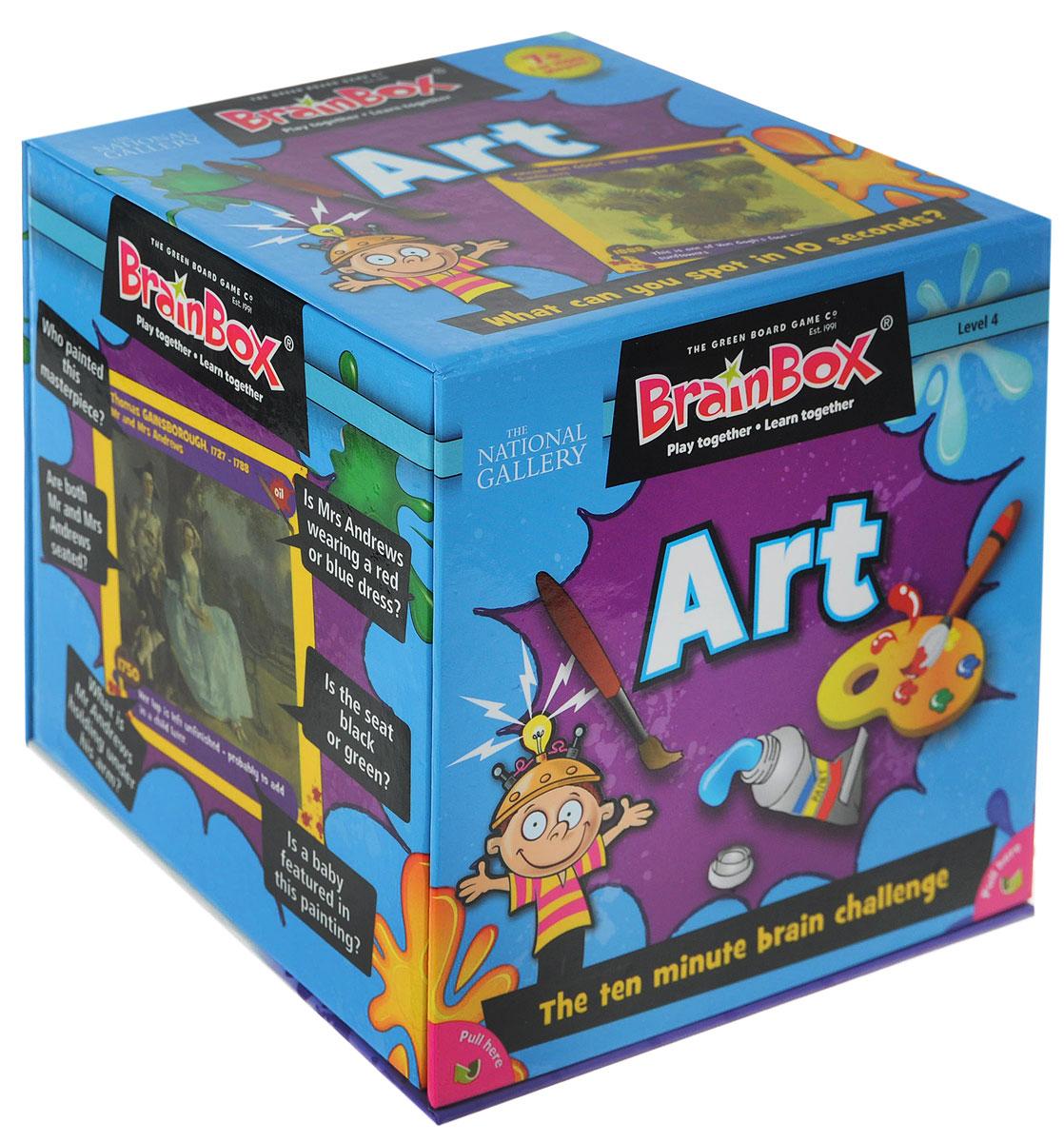 BrainBox Настольная игра Сундучок знаний Art90014Настольная игра BrainBox Сундучок Знаний. Art - английский вариант популярной во всем мире викторины Искусство. В увлекательном игровом процессе вы ознакомитесь с шедеврами мировой живописи, узнаете интересные факты о картинах и получите прекрасную языковую практику. Игра способствует развитию зрительной памяти и концентрации внимания. Цель игры: набрать наибольшее количество карточек в течение 10 минут. Как играть: Для одного игрока: Переверните песочные часы и изучите картинку в течение 10 секунд. Переверните карточку и бросьте кости. Ответьте на выпавший вам вопрос. Если вы правильно ответили на вопрос, оставьте карточку себе. Если вы ошиблись, верните карточку в коробку. Посчитайте, сколько карточек у вас набралось через 5 или 10 минут. Помните! Все ответы на вопросы размещены на картинке, поэтому смотрите внимательно! Для двух и более игроков: Если вы младший из игроков, достаньте карточку из коробки. Переверните песочные часы и в течение 10 секунд...
