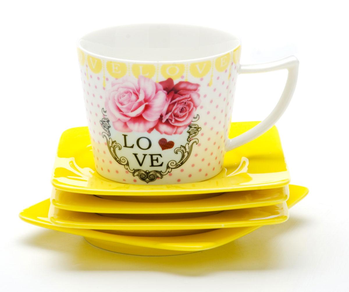 Набор чайный Loraine I LOVE YOU, 8 предметов. 2469924699Чайный набор, выполненный из высококачественной керамики, состоит из 4 чашки (230 мл) и 4 блюдца. Изделия декорированы изображением цветов. Элегантный дизайн и совершенные формы предметов набора привлекут к себе внимание и украсят интерьер вашей кухни. Чайный набор идеально подойдет для сервировки стола и станет отличным подарком к любому празднику. Чайный набор упакован в подарочную коробку.