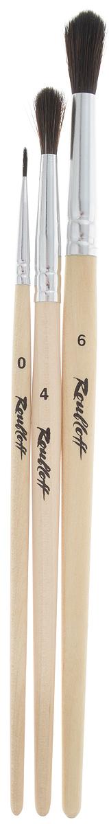 Набор кистей Rubloff, 3 шт. НЭКО53НЭКО53Кисти из набора Rubloff идеально подойдут для художественных и декоративно-оформительских работ. В набор входят круглые кисти №0, 4 и 6. Щетина изготовлена из имитированного волоса белки. Деревянные ручки оснащены алюминиевыми втулками с двойной обжимкой. Конусообразная форма пучка позволяет прорисовывать мелкие детали и выполнять заливку фона. Длина кистей: №0 - 17,2 см; №4 - 18,8 см; №6 - 21,1 см. Длина пучка: №0 -8 мм; №4 - 1,8 см; №6 - 2,2 см.