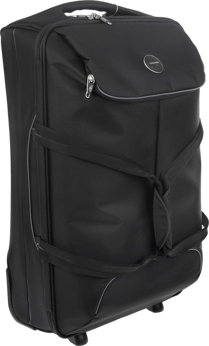 Сумка-чемодан Samsonite Pop-Fresh, с телескопической ручкой, на колесах, цвет: черный, 61 л. 37V*0901237V*09012Сумка-чемодан Samsonite Pop-Fresh на колесах , выполненная из плотного полиамида, прекрасно подойдет для путешествий. Материал внутренней отделки - полиэстеровая ткань. Чемодан очень вместителен. С внешней стороны расположен дополнительный карман, который закрывается на молнию. Внутри одно большое отделение, закрывающееся по периметру на застежку-молнию с двумя бегунками. Большое отделение для хранения одежды оснащено перекрещивающимися багажными ремнями, которые соединяются при помощи пластикового карабина. Также внутри имеется сетчатый карман на молнии и дополнительное отделение на молнии. Такая организация позволяет удобно разложить вещи и избежать их сминания. Ручки сумки плотные, удобные для переноски, которые можно соединить между собой широким хлястиком на кнопках. Для удобной перевозки чемодан оснащен двумя маневренными колесами, которые обеспечивают легкость перемещения в любом направлении. Телескопическая ручка выдвигается ...