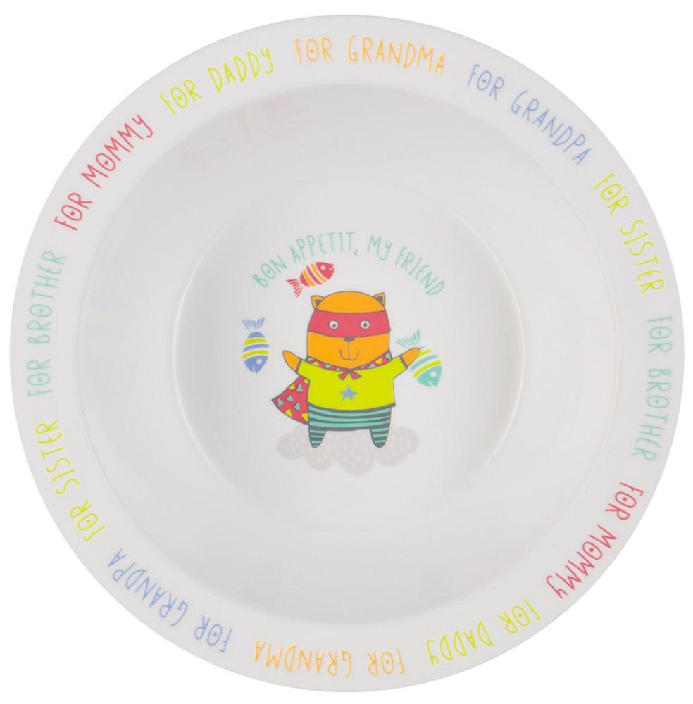 Happy Baby Тарелка глубокая для кормления с присоской Кот