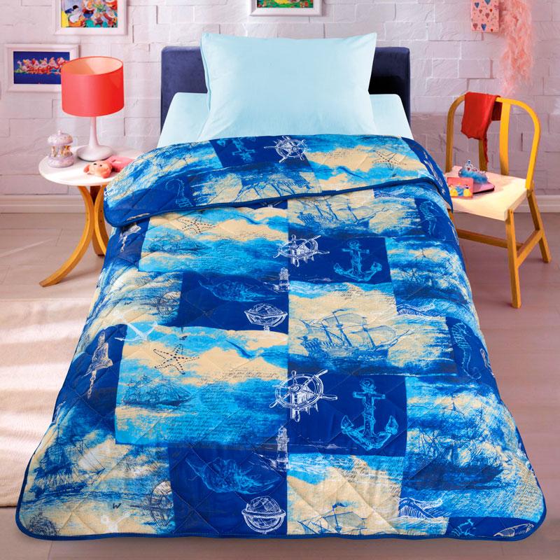 Letto Покрывало детское Кораблик цвет голубойkorablik140Легкое оригинальное покрывало в чехле будет радовать вашего малыша в течение всего года. Сидеть на таком покрывале будет приятно и комфортно - ведь оно выполнено из 100% хлопка. К тому же одеяло можно использовать и как одеяло на детскую кровать. Наполнитель - силиконизированное волокно. Вашему ребенку не будет жарко под таким одеялом, а это значит от не будет раскрываться. Оно подлежит машинной стирке при температуре 30 гр., строго на деликатном режиме.