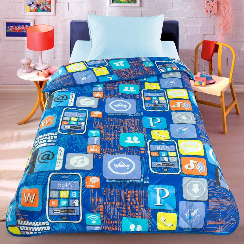 Letto Покрывало детское Смартфон цвет синийsmartphone140Легкое оригинальное покрывало в чехле будет радовать вашего малыша в течение всего года. Сидеть на таком покрывале будет приятно и комфортно - ведь оно выполнено из 100% хлопка. К тому же одеяло можно использовать и как одеяло на детскую кровать. Наполнитель - силиконизированное волокно. Вашему ребенку не будет жарко под таким одеялом, а это значит от не будет раскрываться. Оно подлежит машинной стирке при температуре 30 гр., строго на деликатном режиме.