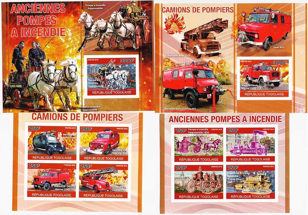Комплект из 2 почтовых блоков и 2 малых листов без зубцов Пожарные машины: старинные и современные. Того, 2010 год791504Комплект из 2 почтовых блоков и 2 малых листов без зубцов Пожарные машины: старинные и современные. Того, 2010 год. Размеры малых листов: 9.5 х 12.5 см. Размер марок: 3.3 х 4.7 см. Размеры почтовых блоков: 10.5 х 14.7 см. Размер марок: 3.5 х 4.7 см. Сохранность хорошая.