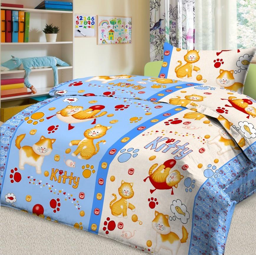 Letto Комплект детского постельного белья Китти цвет голубой