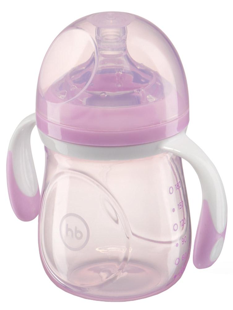 Happy Baby Бутылочка для кормления с антиколиковой силиконовой соской от 0 месяцев цвет сиреневый 180 мл
