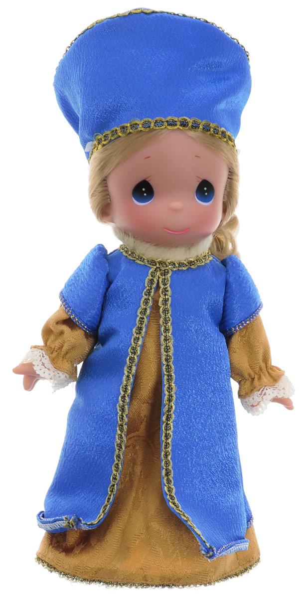Precious Moments Кукла Снегурочка3528Коллекция кукол Precious Moments насчитывает на сегодняшний день более 600 видов. Куклы изготавливаются из качественного и безопасного материала. Каждый год в коллекцию добавляются все новые и новые модели. Каждая кукла имеет свой неповторимый образ и характер. Она может быть подарком на память о каком-либо событии в жизни. Куклы выполнены с любовью и нежностью, которую дарит нам известная волшебница - создатель кукол Линда Рик! Кукла Снегурочка одета в привлекательный костюм, украшенный кружевами и тесьмой, на голове - синий головной убор, также украшенный тесьмой. У девочки светлые вьющиеся волосы и большие синие глаза. Вся одежда съемная. Кукла научит ребенка взаимодействовать с окружающими, а также поспособствует развитию воображения, логики и тактильного восприятия. Кукла станет отличным подарком для девочки, а также ценным экспонатом любой коллекции кукол.