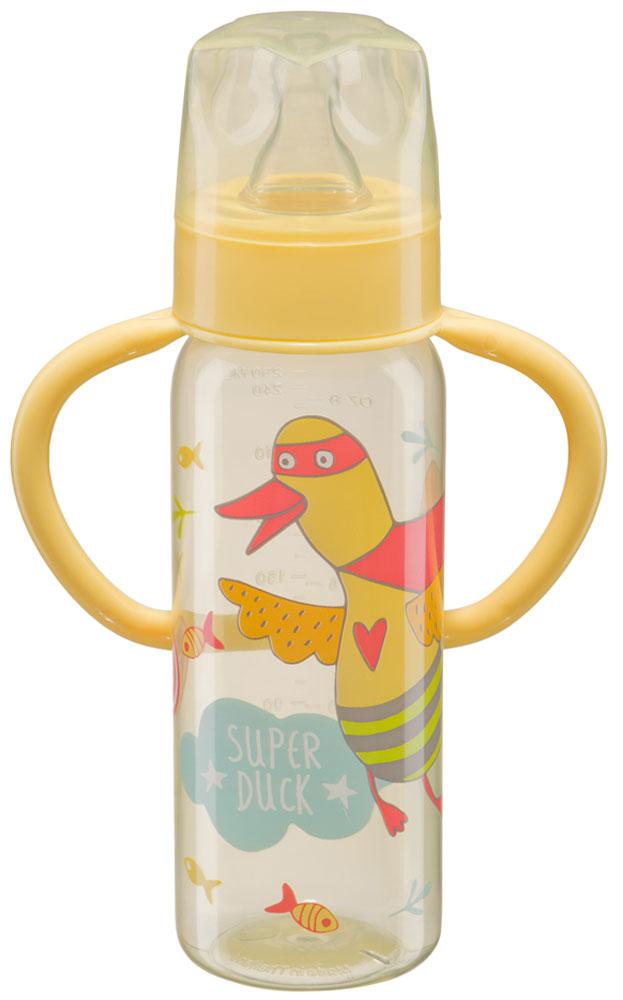 Happy Baby Бутылочка для кормления с силиконовой соской от 0 месяцев цвет желтый 250 мл